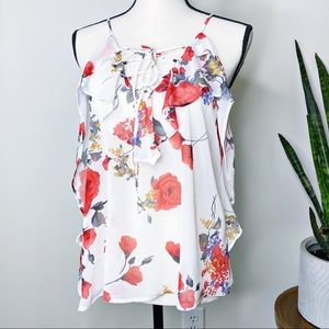 Soprano White Sheer Red Floral Print Ruffle Blouse